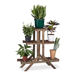 Relaxdays Blumentreppe 3 Ebenen, Aus Holz, Blumenständer für innen, Mehrstöckig, HBT: ca. 82,5 x 83 x 28,5 cm, dunkelbraun - 1