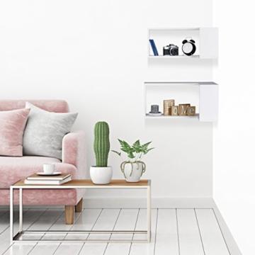 Relaxdays Freischwebend, Dekorativ, Zum Aufhängen, Kinderzimmer, Modernes Design, MDF, Weiß Eck Wandregal, 2er Set, Holz, 30 x 60 x 30 cm - 2