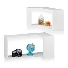 Relaxdays Freischwebend, Dekorativ, Zum Aufhängen, Kinderzimmer, Modernes Design, MDF, Weiß Eck Wandregal, 2er Set, Holz, 30 x 60 x 30 cm - 1