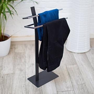 Relaxdays Handtuchständer GRAO H x B x T: 85 x 40 x 20 cm Handtuchhalter stehend mit 2 Armen & verchromten Handtuchstangen in Edelstahl Optik, moderner Badetuchhalter elegant und stilvoll, anthrazit - 3