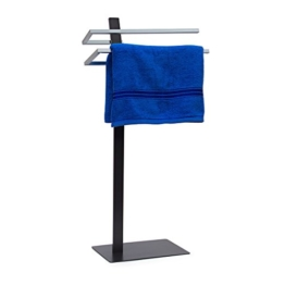 Relaxdays Handtuchständer GRAO H x B x T: 85 x 40 x 20 cm Handtuchhalter stehend mit 2 Armen & verchromten Handtuchstangen in Edelstahl Optik, moderner Badetuchhalter elegant und stilvoll, anthrazit - 1