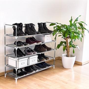 Relaxdays Schuhregal mit 5 Ablagen, Schuhablage für 20 Paar Schuhe, beliebig erweiterbar, HxBxT: 90,5x87x29,5 cm, grau - 2