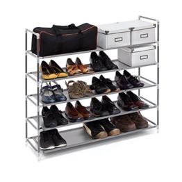 Relaxdays Schuhregal mit 5 Ablagen, Schuhablage für 20 Paar Schuhe, beliebig erweiterbar, HxBxT: 90,5x87x29,5 cm, grau - 1