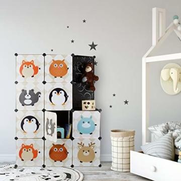 Relaxdays Steckregal Kinderzimmer, Tiermotive, Kunststoff Stecksystem, m. Türen, Kleiderschrank, m. Kleiderstange, bunt - 2