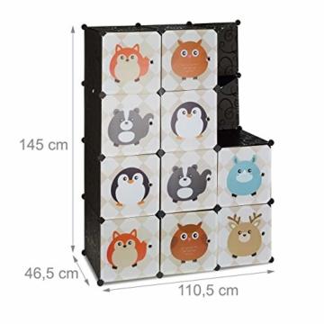 Relaxdays Steckregal Kinderzimmer, Tiermotive, Kunststoff Stecksystem, m. Türen, Kleiderschrank, m. Kleiderstange, bunt - 4