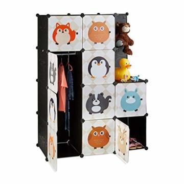 Relaxdays Steckregal Kinderzimmer, Tiermotive, Kunststoff Stecksystem, m. Türen, Kleiderschrank, m. Kleiderstange, bunt - 1