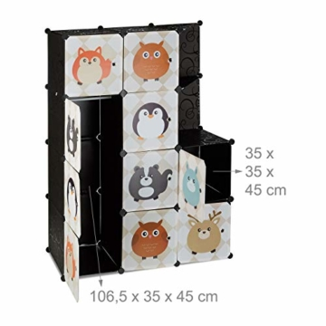 Relaxdays Steckregal Kinderzimmer, Tiermotive, Kunststoff Stecksystem, m. Türen, Kleiderschrank, m. Kleiderstange, bunt - 5