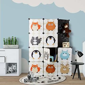 Relaxdays Steckregal Kinderzimmer, Tiermotive, Kunststoff Stecksystem, m. Türen, Kleiderschrank, m. Kleiderstange, bunt - 6