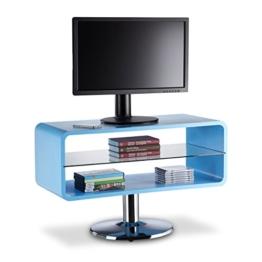 Relaxdays TV Tisch Retro, schmal, Lowboard Holz im Cube Design, TV Board freistehend, HBT 52 x 81 x 40 cm, blau - 1