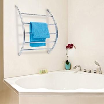 Relaxdays Wand-Handtuchhalter mit 5 Stangen HxBxT: 70 x 56,5 x 15,5 cm Badetuchhalter aus verchromtem Stahl mit 5 Handtuchstangen als Ablage für Badetücher und Badesachen in modernem Design, silber - 2