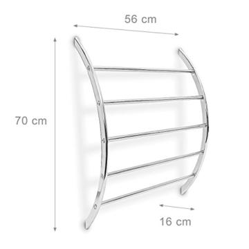 Relaxdays Wand-Handtuchhalter mit 5 Stangen HxBxT: 70 x 56,5 x 15,5 cm Badetuchhalter aus verchromtem Stahl mit 5 Handtuchstangen als Ablage für Badetücher und Badesachen in modernem Design, silber - 3