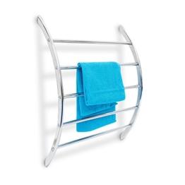Relaxdays Wand-Handtuchhalter mit 5 Stangen HxBxT: 70 x 56,5 x 15,5 cm Badetuchhalter aus verchromtem Stahl mit 5 Handtuchstangen als Ablage für Badetücher und Badesachen in modernem Design, silber - 1