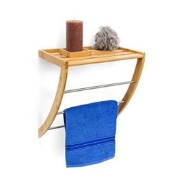 Relaxdays Wandhandtuchhalter aus Bambus mit 3 Handtuchstangen aus verchromtem Metall HBT 40 x 38 x 24,5 cm Badregal Plus Badetuchhalter als Handtuchregal feuchtigkeitsresistentem Holz, Natur - 1