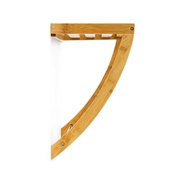 Relaxdays Wandhandtuchhalter aus Bambus mit 3 Handtuchstangen aus verchromtem Metall HBT 40 x 38 x 24,5 cm Badregal Plus Badetuchhalter als Handtuchregal feuchtigkeitsresistentem Holz, Natur - 5