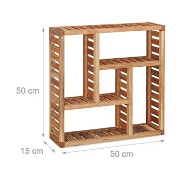 Relaxdays Wandregal Walnuss mit 5 Fächern, für Badezimmer, Flur und Wohnzimmer, Stauraum, HxBxT: 50 x 50 x 15 cm, natur - 2