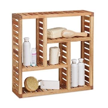 Relaxdays Wandregal Walnuss mit 5 Fächern, für Badezimmer, Flur und Wohnzimmer, Stauraum, HxBxT: 50 x 50 x 15 cm, natur - 1