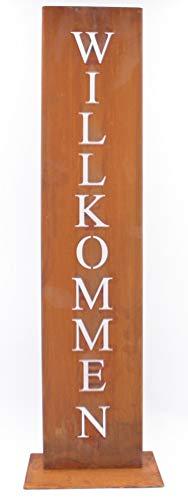 Rostikal Willkommen Ständer, Rost Schild, Dekoration für Hauseingang in Edelrost Eingangsschild - 1