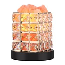 Salzlampe Himalaya Salzlampe,Salz Lampen Himalaya Deko Licht Salzstein Lampe Salzkristall Nachtlicht mit Dimmerschalter v. Himalaya (Holzfuß) - 1
