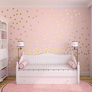 Slivercolor Gold Punkt Aufkleber,Herausnehmbarer Dot Aufkleber,Wandtattoo Punkte für Kinderzimmer Deko, 1,2 Zoll, 216 Punkte - 1