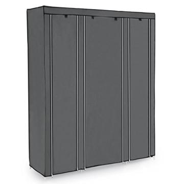 SONGMICS Kleiderschrank XXL 175 x 150 x 45 cm Faltschrank Stoffschrank mit Kleiderstange grau LSF03G - 5