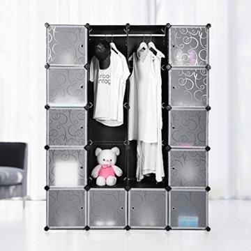 Songmics LPC30H Kleiderschrank Garderobenschrank Steckregalsystem mit 2 Kleiderstange, Plastik, schwarz, 143 x 178 x 36 cm - 2