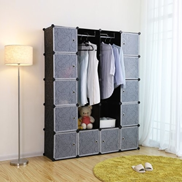 Songmics LPC30H Kleiderschrank Garderobenschrank Steckregalsystem mit 2 Kleiderstange, Plastik, schwarz, 143 x 178 x 36 cm - 3