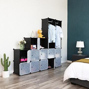 Songmics LPC30H Kleiderschrank Garderobenschrank Steckregalsystem mit 2 Kleiderstange, Plastik, schwarz, 143 x 178 x 36 cm - 4