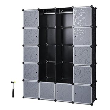 Songmics LPC30H Kleiderschrank Garderobenschrank Steckregalsystem mit 2 Kleiderstange, Plastik, schwarz, 143 x 178 x 36 cm - 1