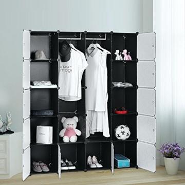 Songmics LPC30H Kleiderschrank Garderobenschrank Steckregalsystem mit 2 Kleiderstange, Plastik, schwarz, 143 x 178 x 36 cm - 5
