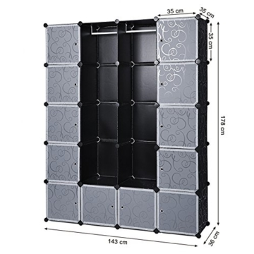 Songmics LPC30H Kleiderschrank Garderobenschrank Steckregalsystem mit 2 Kleiderstange, Plastik, schwarz, 143 x 178 x 36 cm - 6