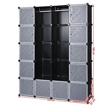 Songmics LPC30H Kleiderschrank Garderobenschrank Steckregalsystem mit 2 Kleiderstange, Plastik, schwarz, 143 x 178 x 36 cm - 9