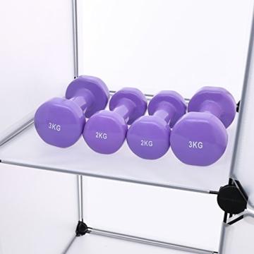 Songmics LPC30H Kleiderschrank Garderobenschrank Steckregalsystem mit 2 Kleiderstange, Plastik, schwarz, 143 x 178 x 36 cm - 10