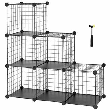 SONGMICS Steckregal aus Drahtgitter individuell aufstellbar Cube Sideboard Regalschrank 93 x 93 x 31 cm (B x H x T) Schwarz LPI111H - 1