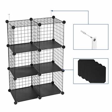 SONGMICS Steckregal aus Drahtgitter individuell aufstellbar Cube Sideboard Regalschrank 93 x 93 x 31 cm (B x H x T) Schwarz LPI111H - 5