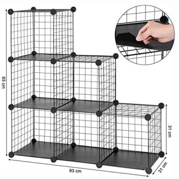 SONGMICS Steckregal aus Drahtgitter individuell aufstellbar Cube Sideboard Regalschrank 93 x 93 x 31 cm (B x H x T) Schwarz LPI111H - 7