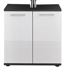 trendteam Badezimmer Waschbecken Unterschrank Schrank Smart, 60 x 60 x 36 cm in Korpus Grau, Front Weiß Hochglanz  mit viel Stauraum - 1
