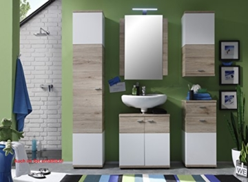 trendteam smart living Badezimmer Hochschrank Schrank Campus, 36 x 189 x 31 cm in Weiß, Eiche San Remo (Nb.) mit viel Stauraum und vier verstellbaren Einlegeböden - 3