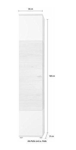 trendteam smart living Badezimmer Hochschrank Schrank Campus, 36 x 189 x 31 cm in Weiß, Eiche San Remo (Nb.) mit viel Stauraum und vier verstellbaren Einlegeböden - 4