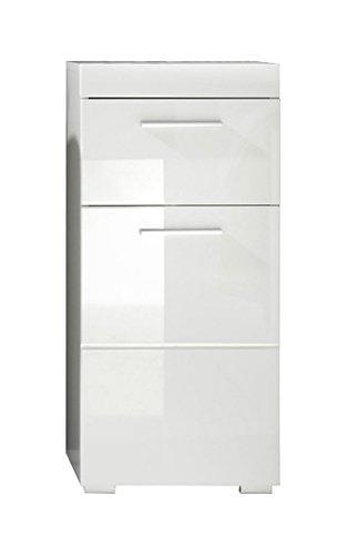 trendteam smart living Badezimmer Schrank Kommode Amanda, 37 x 79 x 31 cm in Weiß Hochglanz mit Schubkasten - 1