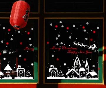 Tuopuda Weihnachtssticker Weihnachten Rentier Schneeflocken Stadt Removable Vinyl Fensterbilder Fensterdeko Weihnachtsdeko Weihnachten Wandaufkleber Wandtattoo Wandsticker (rot) - 3