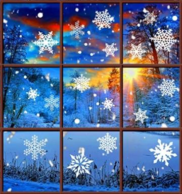 Tuopuda Weihnachtssticker Weihnachten Rentier Schneeflocken Stadt Removable Vinyl Fensterbilder Fensterdeko Weihnachtsdeko Weihnachten Wandaufkleber Wandtattoo Wandsticker (rot) - 7