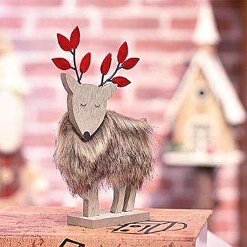 Valery Madelyn Holz Rentier Weihnachdeko Figur Weihnachtsdekoration 19/22cm 2er Set Hirsch Weihnachtsfigur mit flauschigem Kunstfell In den Wald Thema für Weihnachten - 3