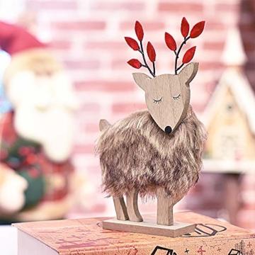 Valery Madelyn Holz Rentier Weihnachdeko Figur Weihnachtsdekoration 19/22cm 2er Set Hirsch Weihnachtsfigur mit flauschigem Kunstfell In den Wald Thema für Weihnachten - 4