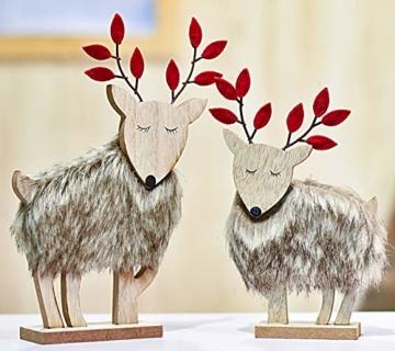 Valery Madelyn Holz Rentier Weihnachdeko Figur Weihnachtsdekoration 19/22cm 2er Set Hirsch Weihnachtsfigur mit flauschigem Kunstfell In den Wald Thema für Weihnachten - 1