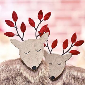 Valery Madelyn Holz Rentier Weihnachdeko Figur Weihnachtsdekoration 19/22cm 2er Set Hirsch Weihnachtsfigur mit flauschigem Kunstfell In den Wald Thema für Weihnachten - 5