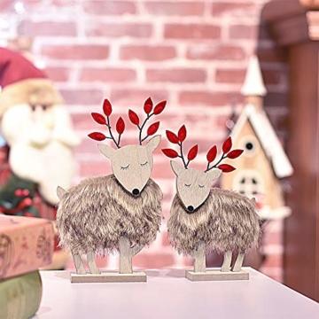 Valery Madelyn Holz Rentier Weihnachdeko Figur Weihnachtsdekoration 19/22cm 2er Set Hirsch Weihnachtsfigur mit flauschigem Kunstfell In den Wald Thema für Weihnachten - 6