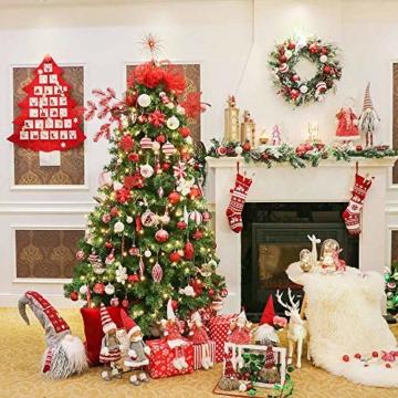 Valery Madelyn Holz Rentier Weihnachdeko Figur Weihnachtsdekoration 19/22cm 2er Set Hirsch Weihnachtsfigur mit flauschigem Kunstfell In den Wald Thema für Weihnachten - 7