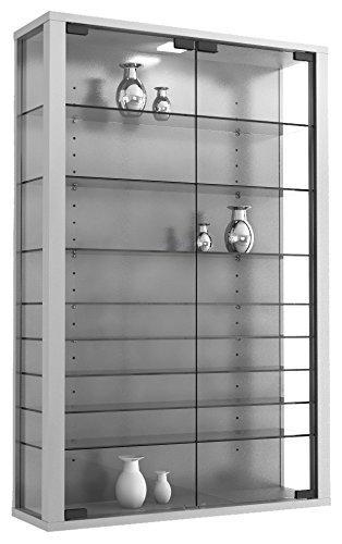 "VCM Vitrine Wandvitrine Sammelvitrine Glasvitrine Regal Schrank Glas Hängevitrine mit Beleuchtung Silber ""Vitrosa Mini"" - 1"