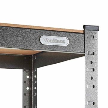 VonHaus Schwerlastregal/Lagerregal mit 5 Ebenen – Industriestahl & MDF-Böden – Schraubenlose Montage – 175 kg Tragkraft pro Boden - H180 x B90 x T40 cm - 6