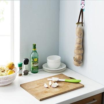 WJkuku 3 Stück Wiederverwendbar Obst und Gemüse Shopping Bag Lebensmittel Aufbewahrungstasche mit Griff Küche Multifunktions Aufhängen der Tasche, Textil, Brown/Green/White - 4